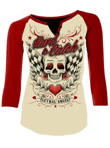 """Women's """"Hard To Catch"""" Raglan Tee by Lethal Angel (Cream)"""