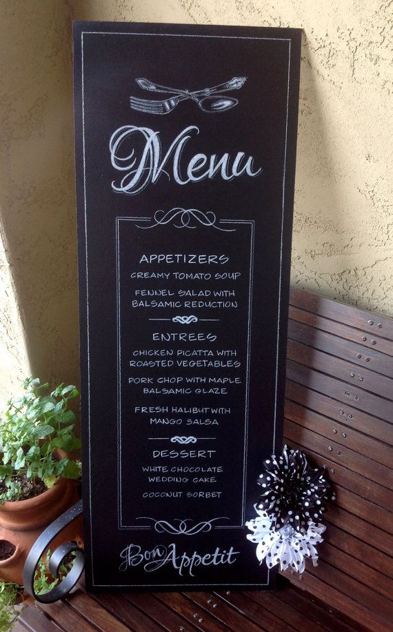 MENTION YOU SAW ME ON PINTEREST AND RECEIVE 15% DISCOUNT! PERSONALIZED Wedding Chalkboard  MENU by ChalkTreatment on Etsy, $175.00. Wedding Chalkboard Menu.  Elegant Food.