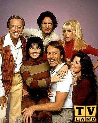 Three's Company - 1977-1984  Mr. Woorley, Jack, Janet, Cindy, Larry  (Don Knotts, John Ritter, Suzanne Sommers)