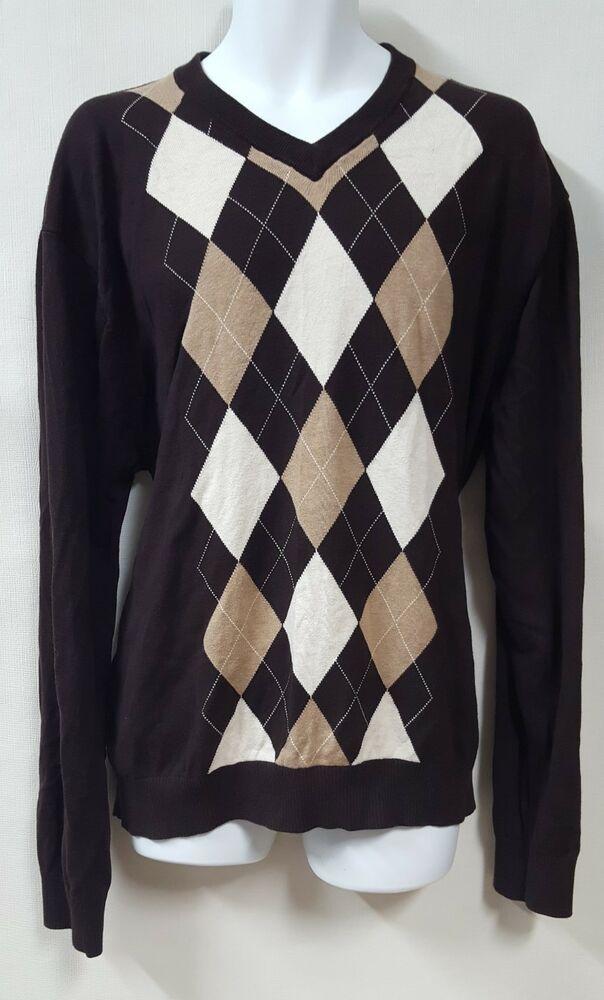 Tommy Hilfiger Brown Argyle Sweater Size 2XL Crew neck Light