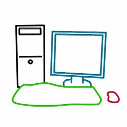how to draw computer for kids