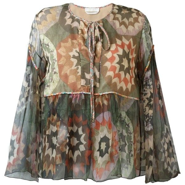 Chloé Patchwork Print Smock Blouse ($1,048) ❤ liked on Polyvore featuring tops, blouses, green, chloe top, patchwork tops, smock tops, brown tops and smocked blouse
