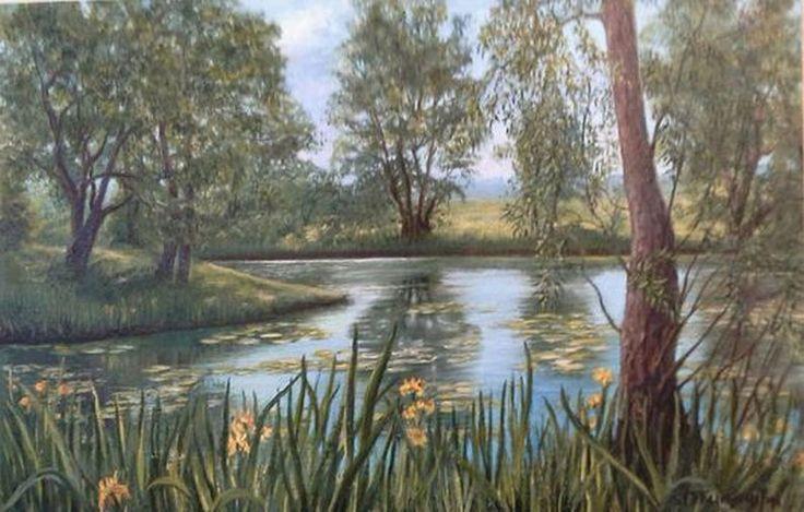 "Landscape Oil painting, oil on canvas, Handmade art ""Lake"". Author's work."