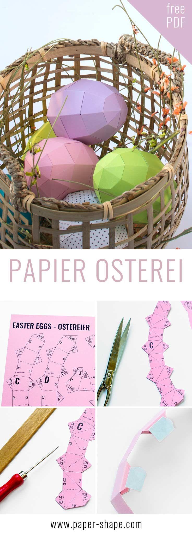 Moderne Ostereier basteln aus Papier mit der kostenlosen Vorlage, die ihr aus dem ARD-Buffet beim SWR kennt. Jetzt mit neuen Osterei-Ideen, die ihr bemalen und befüllen könnt. Hier klicken um die Vorlage herunterzuladen.