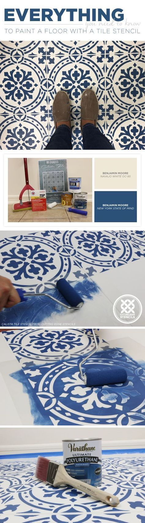 DIY Faux painted tile floor makeover Cali …
