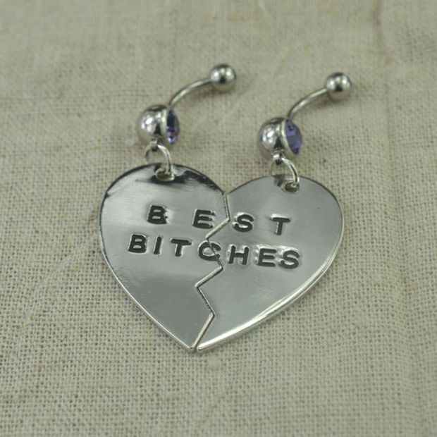 Set of two belly button rings, bestfriend belly button rings ,best bitches belly ring