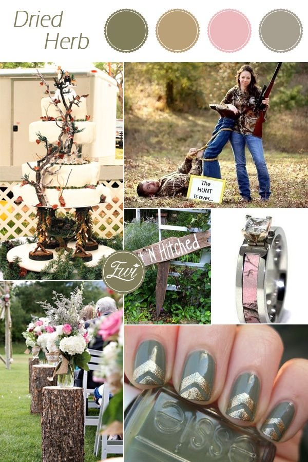 rustic camo inspired pantone dried herb army green fall wedding color schemes 2015