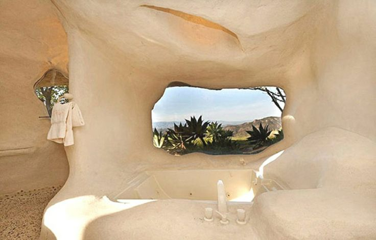 Residence:Stunning Flintstone Home Inspires Contemporary Residence In Malibu USA Rocky House Theme Style Organic Walls Then Furnishings Cave...