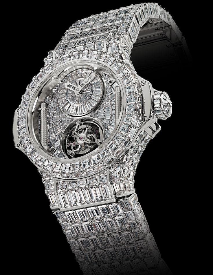 Hublot diamond watch that Beyonce bought for Jay-Z. 42 carats of baguette cut diamonds, over 600 diamonds total, and of course, a heft $5,000,000 price tag.
