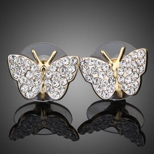 """Austrian Crystal Butterfly Stud Earrings """"Share this pin"""""""