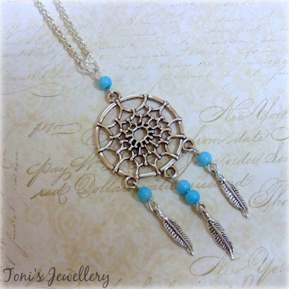 Dreamcatcher Necklace  Imitation Pearls Silver Plated