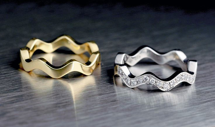 Saarikorpi Design, Wave I rings, 18K yellow and white gold, W/VS diamonds
