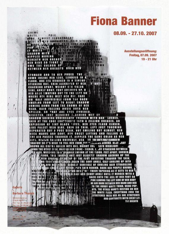 "garadinervi: "" Fiona Banner, Poster for exhibition at Galerie Barbara Thumm, Berlin, September 8-October 27, 2007, The Vanity Press, London / Almost Fluoroscent Nude, 2007, Studio Installation """