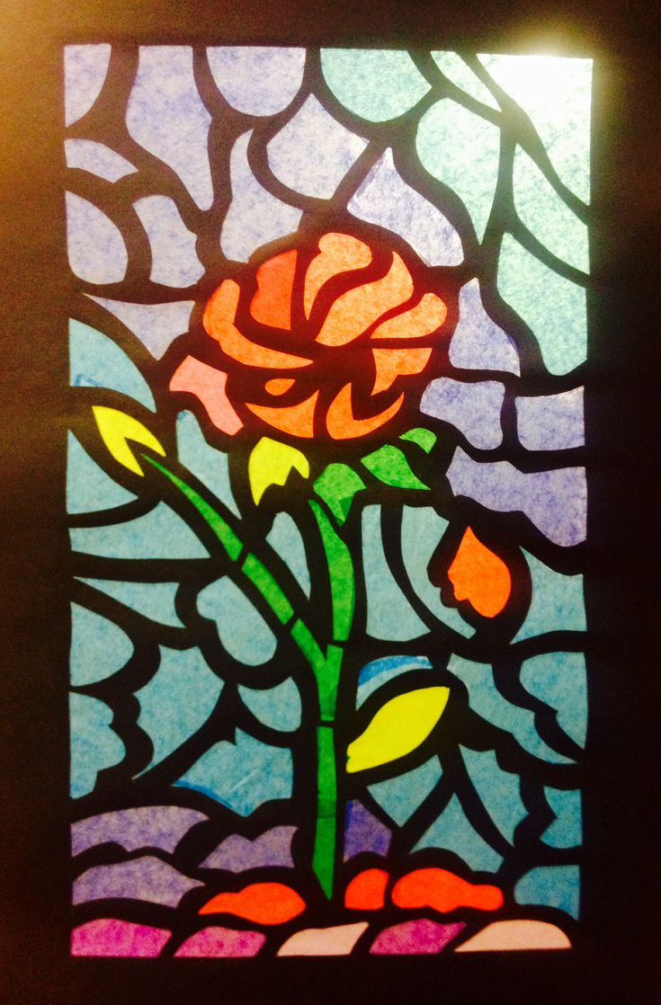 Tissue Paper Stained Glass Beauty The Beast Crafts