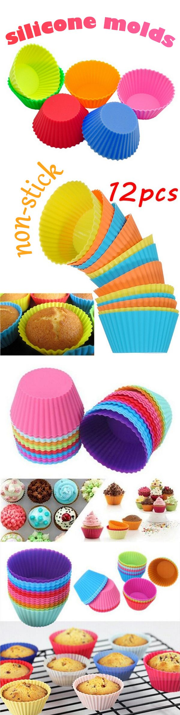 silicone baking molds for cupcakes or muffins .. non-stick, easily cleaned, reusable, and healthy,,,