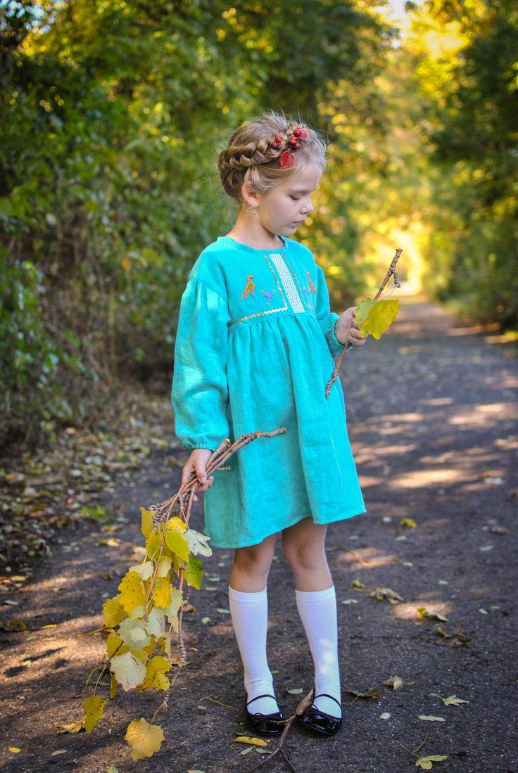 Linen embroidered dress for girls
