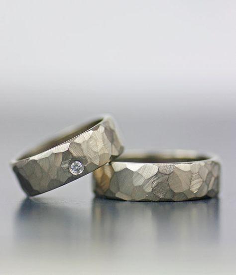Conjunto de alianzas de boda: alianzas de boda modernas y facetadas de diamantes para hombres o mujeres, alianzas de boda éticas de oro o paladio   – Hochzeit
