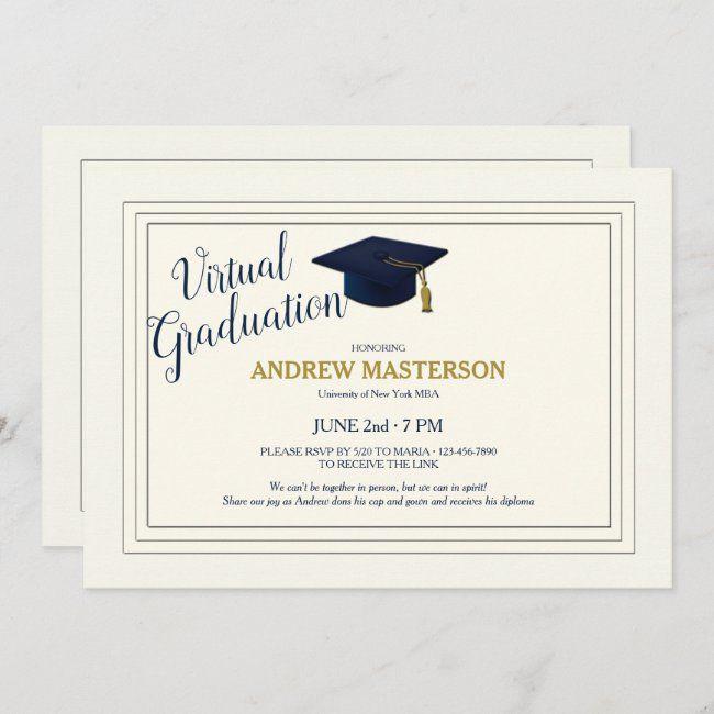 Virtual Graduation Sophisticated Graduate Invite Zazzle Com In 2020 Graduation Invitations Online Graduation Invitations Free Printable Graduation Invitations