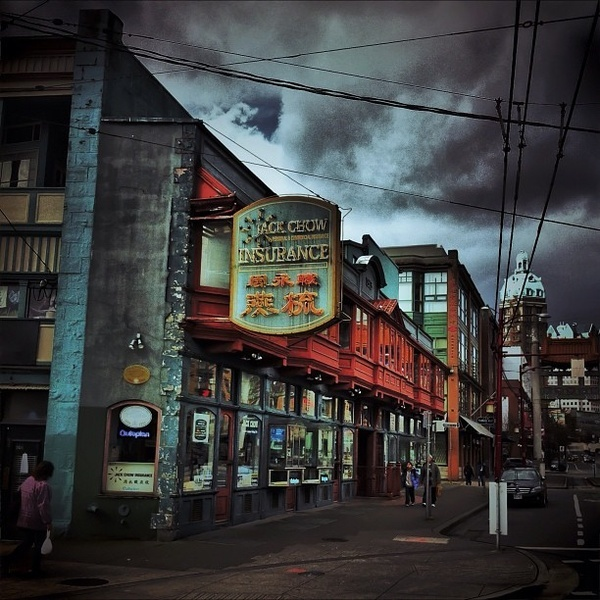 Photo by Instagram user themaxsavage of Sam Kee building in Vancouver's Chinatown, considered the narrowest commercial building in the world
