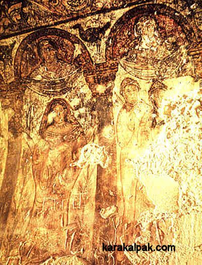 Fresco from Qusayr 'AmraA more conservatively dressed woman with a head veil depicted at Qusayr 'Amra.