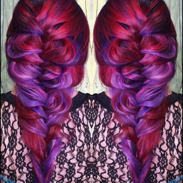 Purple red dyed hair color inspiration