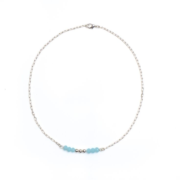 xada jewellery - Blue and Silver bead bar necklace, $25.95 (http://www.xadajewellery.com/shop-by-collection/blue-and-silver-bead-bar-necklace/)