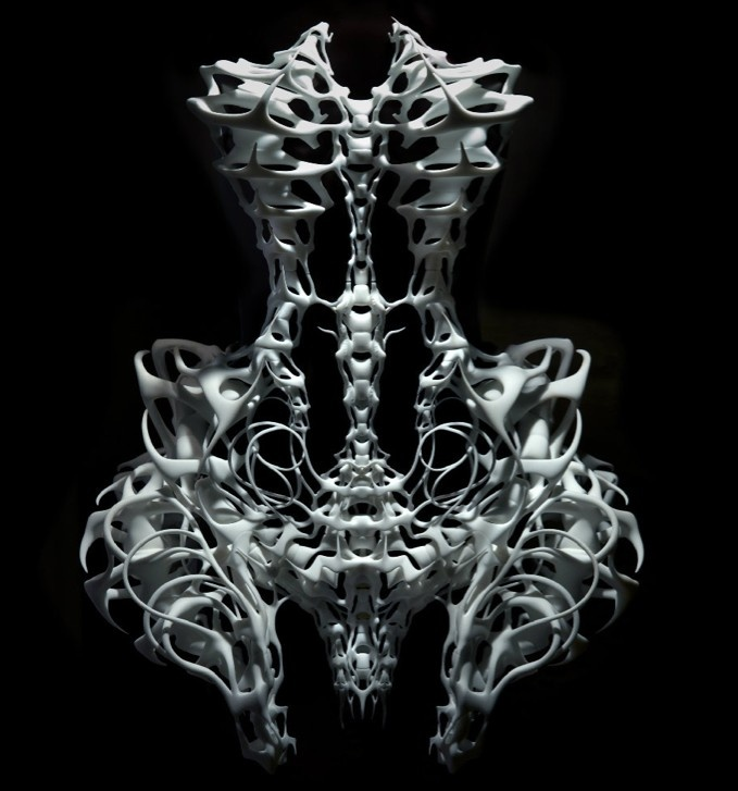 "3D printed dress by Iris van Herpen, with architect Isaïe Bloch and .MGX, from ""Capriole"" collection 2011- exhibition at Groninger Museum - photo by Ingrid Baars"