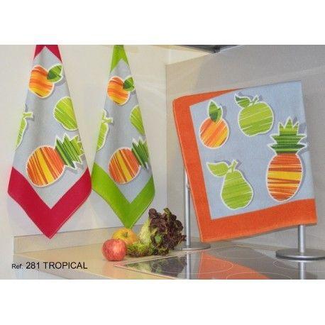 Paño de cocina Tropical. Paño de cocina estampado con frutas. Algodón 100% Medida: 50X50 cm. De la firma de hogar Trovador. Colores: Naranja, Verde y Rojo