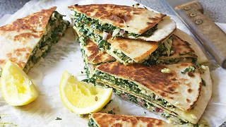 Silverbeet gözleme with chickpea flour and cottage cheese