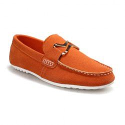 Laconic Men's Loafers With Suede and Metal Design