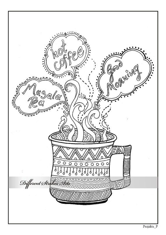 adult colouring page coffee : coloring page for coffee lovers