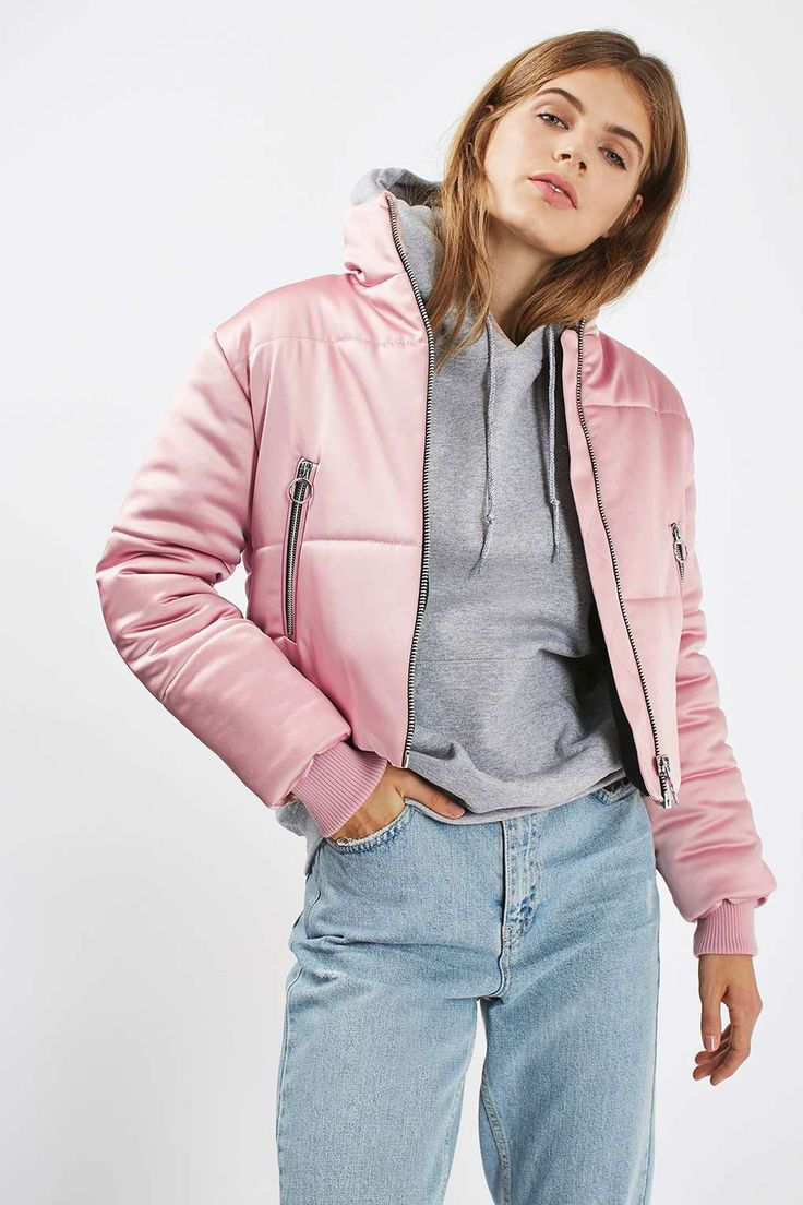 Pink Satin Puffer Jacket - Topshop