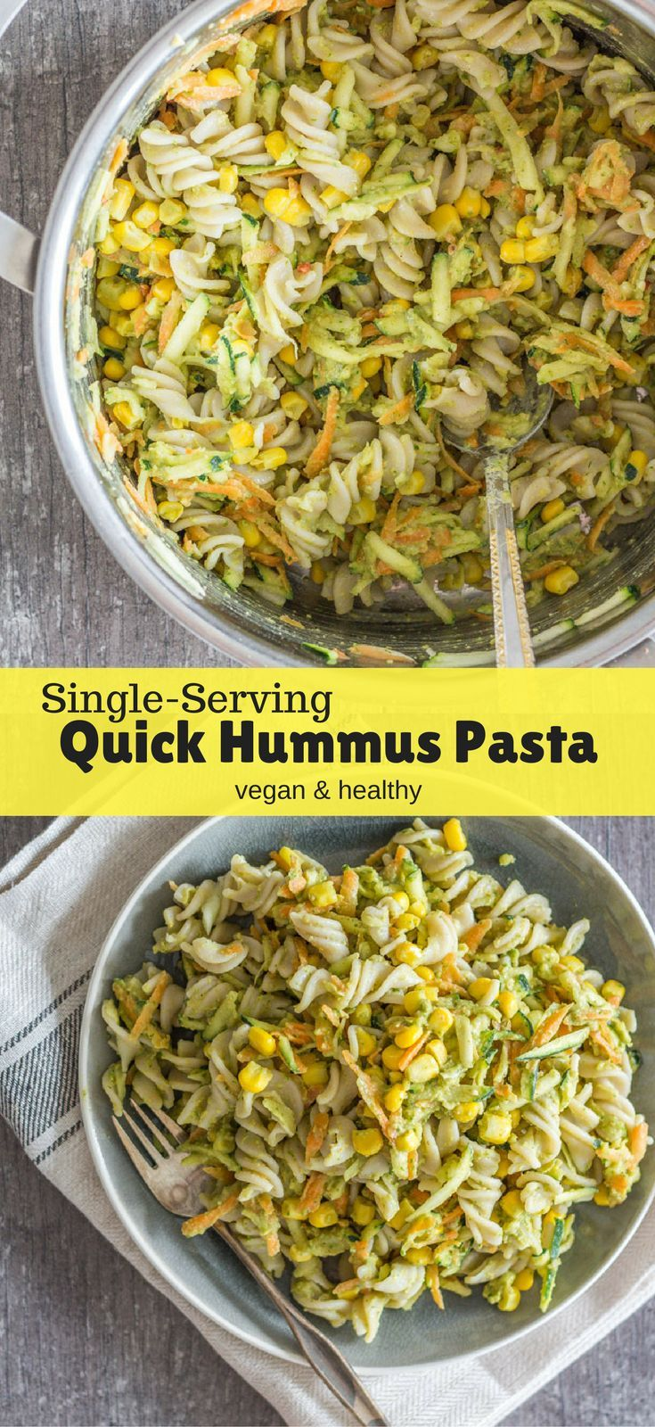This Single-Serving Quick Hummus Pasta is quick and easy, filling, healthy, creamy, and very delicious. A perfect vegan dinner for any busy weeknights. Healthy vegan recipes | healthy | vegan | dinner | lunch | vegan dinner recipes | recipes | vegetarian | The Mostly Healthy