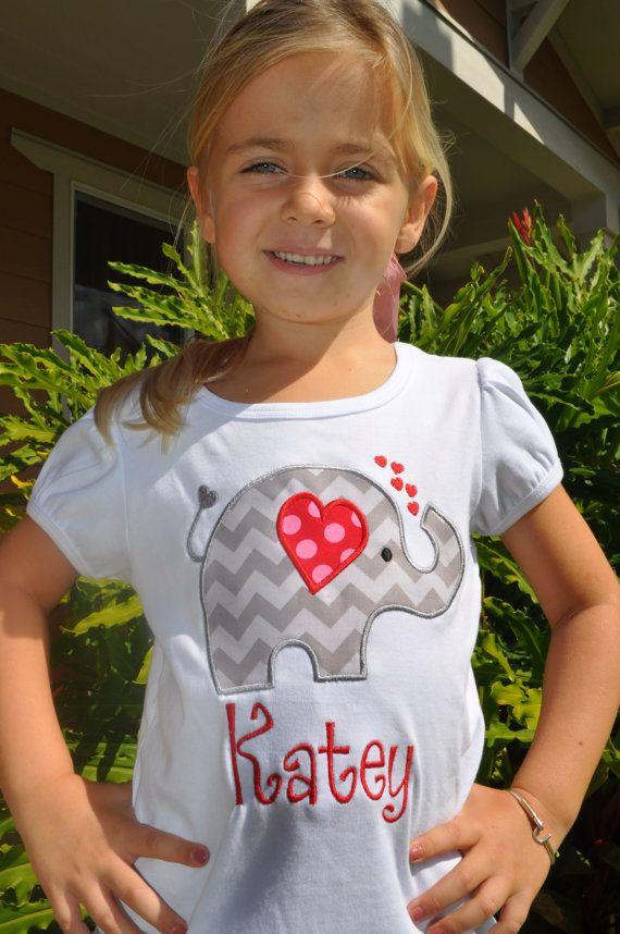 Girls Valentine Love Elephant Appliqued T-shirt. $18.00, via Etsy.