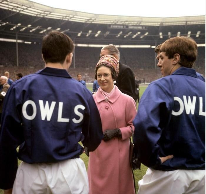 On May 14, 1966, HRH Princess Margaret met Sheffield Wednesday Football Club Owls team members prior to the 1966 FA Cup final.
