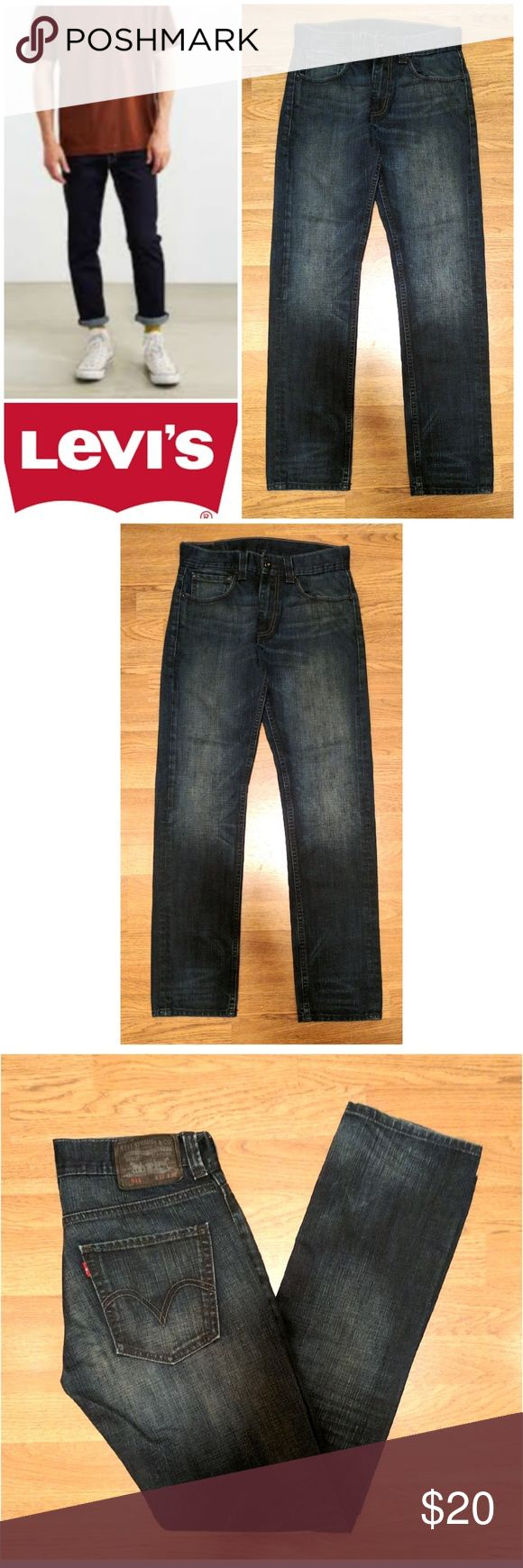"""Levi's 511 Slim Straight jeans These awesome Levi's 511 slim fit jeans are perfect for dressing on any occasion! Dark indigo 100% cotton denim wash, traditional 5 pocket style leather logo tag on back. Levi's 511 slim fit. Size w 31, 32"""" length, model shows fit only. Dress up or down with sneakers and tees, boots and button downs... Possibilities are endless! In EXCELLENT condition NO DAMAGES. Grab yours for less and look great in Levi's! Levi's Jeans"""