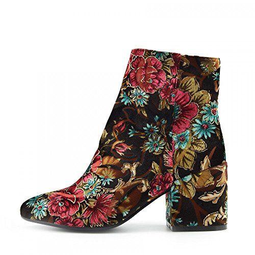 Ladies Floral Print Multi Colour Ankle Boot Block High Heel Celeb Shoes - UK5 / EU38, Multicolor, Ankle Fashion Chelsea Boots