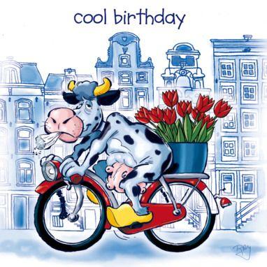 Nederlandse koe op fiets- Greetz