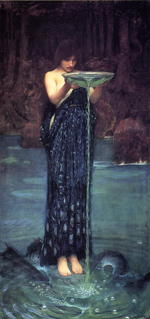 "Circe Invidiosa by John William Waterhouse (1892) In Greek mythology, Circe is a minor goddess of magic (or sometimes a nymph, witch, enchantress or sorceress), described in Homer's Odyssey as ""The loveliest of all immortals"". In this picture Circe empties a bowl of green poison into the waters half standing on the already transformed Scylla into dreadful monster."