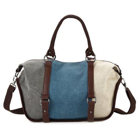 """Metal Canvas Colour Block Tote Bag. Colors: Lake Blue, Orangepink, Red, Red Violet. SKU: ZYAMTG6TG01 Price: $27.1… #Vivoren #Fashion"