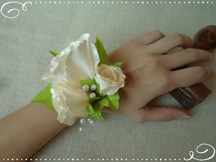 Wrist Corsage - cream white wrist- wedding fabric flower FREE SHIPPING by FonixDecoration on Etsy