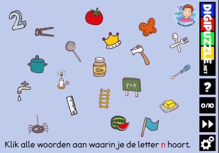 Kleuteridee.nl, Interactief letterspel bij de letter n voor kleuters, voor tablet, computer en digibord