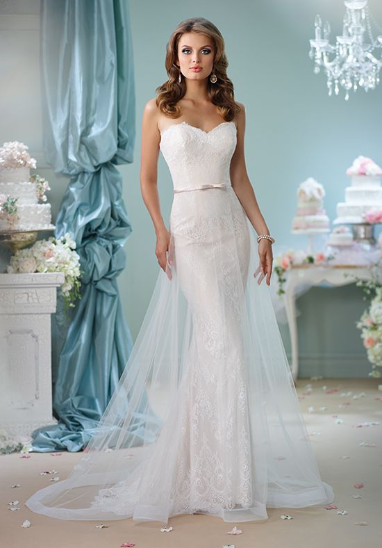 Strapless a-line gown with sweetheart neckline, tulle skirt, and embellished lace I Style: 116134 I Enchanting by Mon Cheri I http://knot.ly/6493BIycP