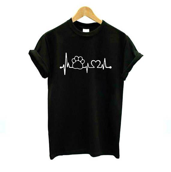 Paw Heart rate Shirt Love Cats T-Shirt BlackWhite Gray