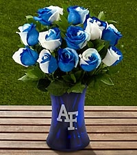 The FTD® US Air Force Academy™ Fightin' Falcons™ Rose Bouquet-12 Stems-VASE INCLUDED Starting at $49.99: Big Blue, 12 Stems, Duke Blue, Rose Bouquet, Blue Devils, Valentine, Flower, Uk Wildcats, Kentucky Wildcats