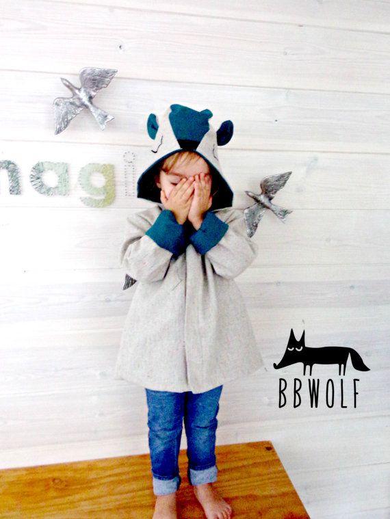 Tierische Jacke Kleinkind Tier Fell tragen Jacke tragen Mantel Jungen Kleidung Unisex Bekleidung Tier Fell Tier Kostüm Kapuze mit Ohren halloween