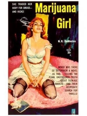 """""""She traded her body for drugs...and kicks"""".  Gotta love those crazy pulp fiction book covers."""