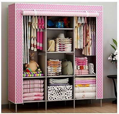 New Portable Bedroom Furniture Clothes Wardrobe Closet Storage Cabinet  Armoires Part 74