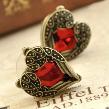 Heart Earrings brilliant ruby beautiful wings