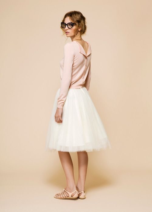 Tulle skirt, flipped cardi.: Full Skirts, Sweaters, Backwards Cardigans, Tulle Skirts, Tutu, Glasses, Soft Pink, Resorts, Pale Pink